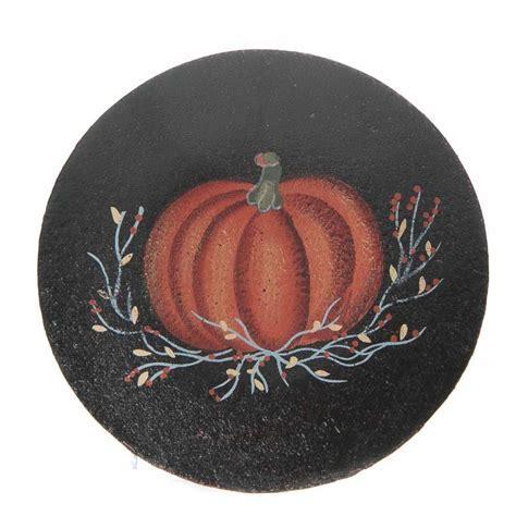 Primitive Fall Pumpkin Wood Plate   Decorative Plates and