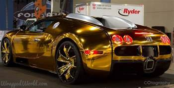 How Much Does A Gold Bugatti Cost Bugatti Veyron Gold Wrapped For Us Rapper Flo Rida