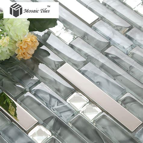 Stainless Steel Kitchen Backsplash Panels by Tst Glass Mental Tile Glass Tile Grey Strip Stainless