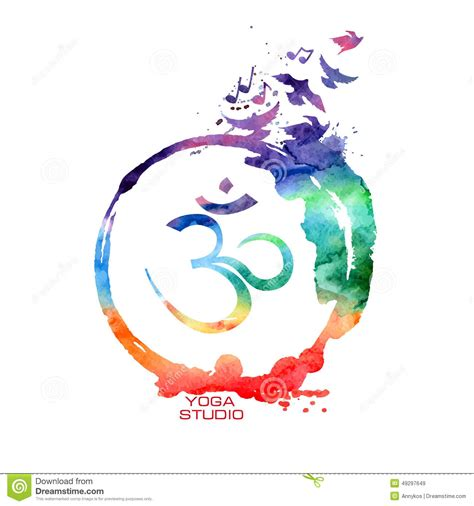 watercolor ohm watercolor om sign label stock vector image of asian 49297649