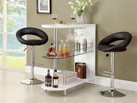 Mini Bar Table Numbi 3pc White Lacquer Mini Server Bar Table 2 Adjustable Bar Stools