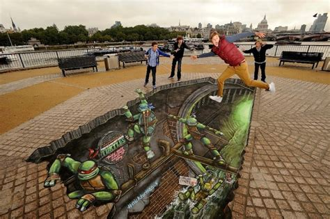 3d street mural breaks the guinness world record video awesome 3d street painting teenage mutant ninja turtles