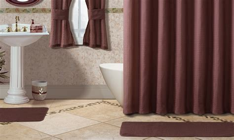 Bathroom Shower And Window Curtain Sets 15 Bath Set And 2 Bonus Window Curtains Groupon
