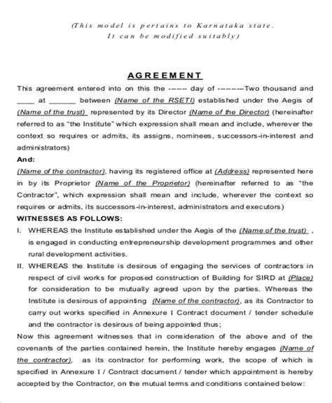8 contract agreement format sles sle templates