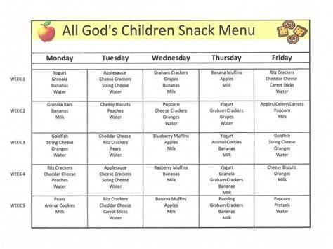 daycare menu template 28 daycare snack menu template daycare menu