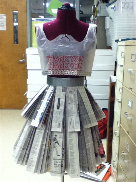 How To Make A Paper Skirt - newspaper skirt and plastic bag tank top o ween s