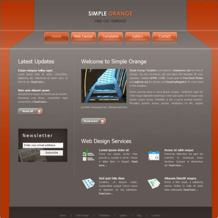 simple homepage template simple orange free website templates in css html js