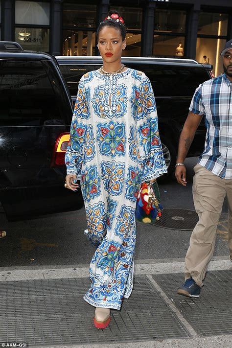 rihanna best dress rihanna wears bright kaftan dress for new york outing