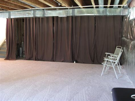 Cover Walls With Curtains Temporary Solution To Unfinished Basement I Need To Do This Around My Office Home Decor