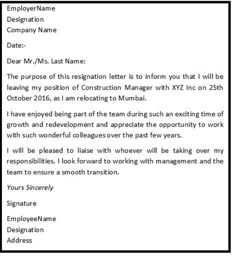 Resignation Letter Relocation Reason Resignation Letter Format For Personal Reason Reason For Resignation