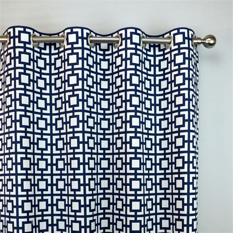 navy blue geometric curtains navy blue white geometric squares key gigi curtains grommet