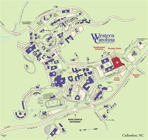 map of western carolina liston b ramsey regional activity center directions