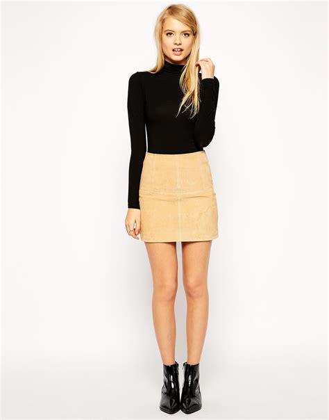 Boots Fashion Ad An 30 Wedges Hitam asos mini skirt in suede shopperboard