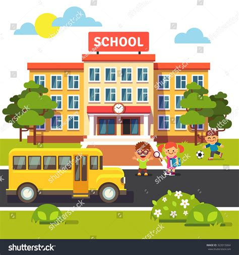 How To Search For On By School School Building And Front Yard With Students Children Flat Style Vector