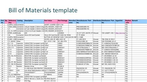 bill of materials template electronic manufacturing v3 0 fab academy 2016
