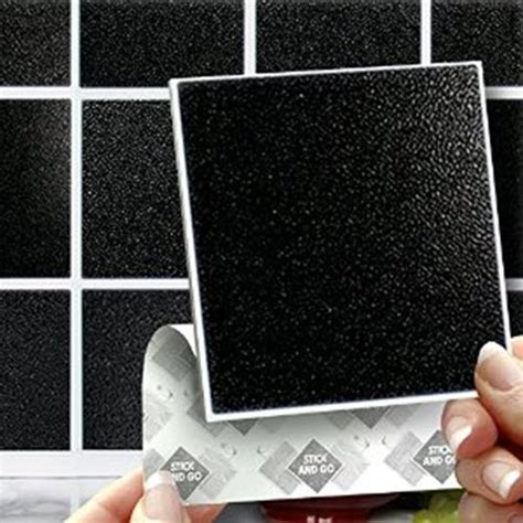 Peel And Stick Subway Tile 26 Black Bathroom Tile Stickers Ideas And Pictures