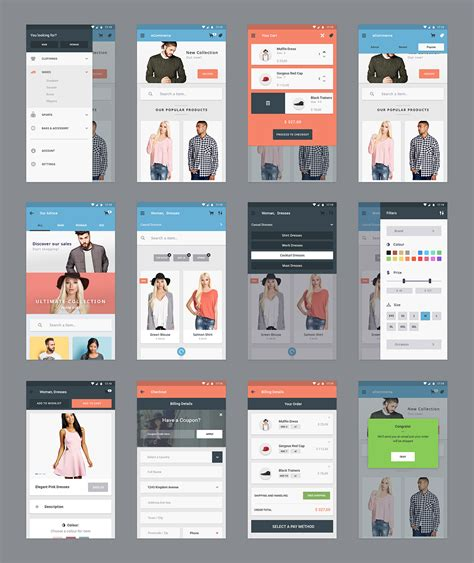app design jacket ecommerce mobile app screens free psd download download psd