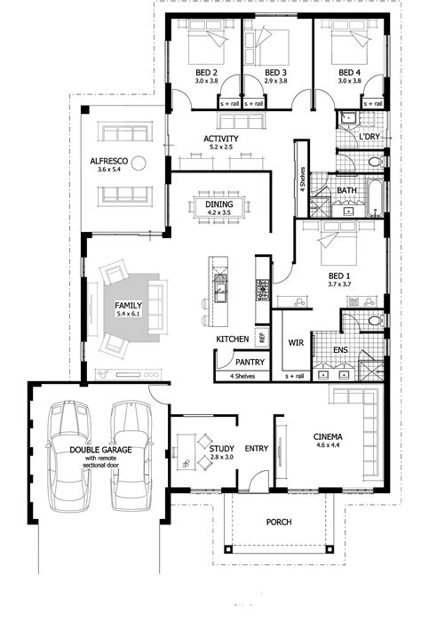 4 bedroom floor plan 4 bedroom house plans home designs celebration homes