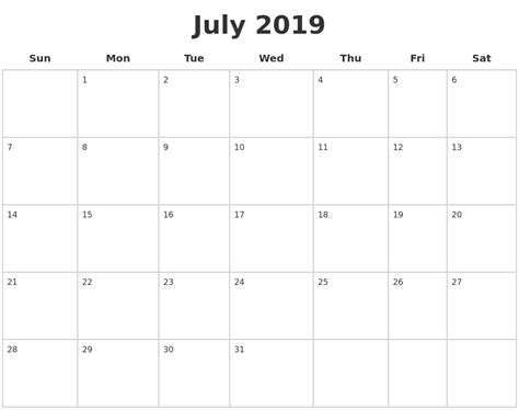 July 2019 Calendar Printable Related Keywords Suggestions For December 2019 January 2020