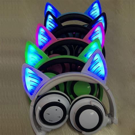 foldable wireless bluetooth  glowing cat ear headphone