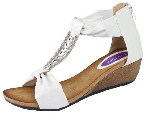 comfortable wedge heels womens t bar summer sandals low wedges heels ladies wedge