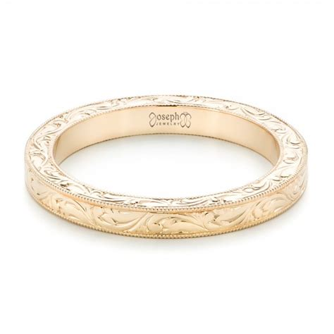 yellow gold engraved wedding band 102438