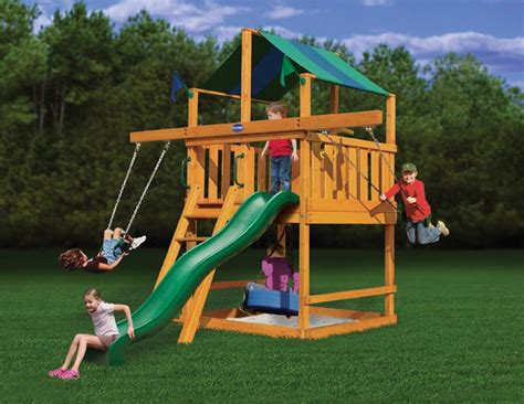 space saving swing playnation royal palace space saver wooden swing set