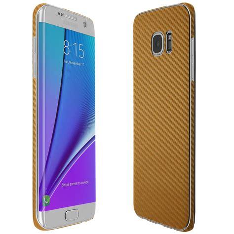 Samsung S7 Edge Gold skinomi techskin samsung galaxy s7 edge gold carbon fiber skin protector coverage