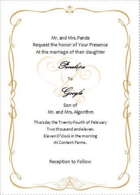 496x692 Source Mirror Wedding Invitation Card Template In Word