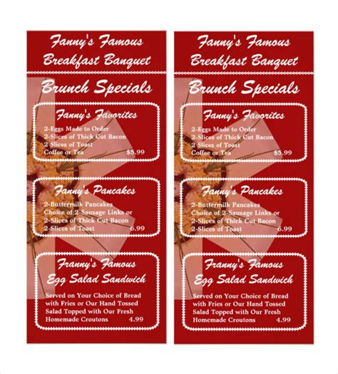 33 Breakfast Menu Templates Free Sle Exle Format Download Free Premium Templates Brunch Menu Template
