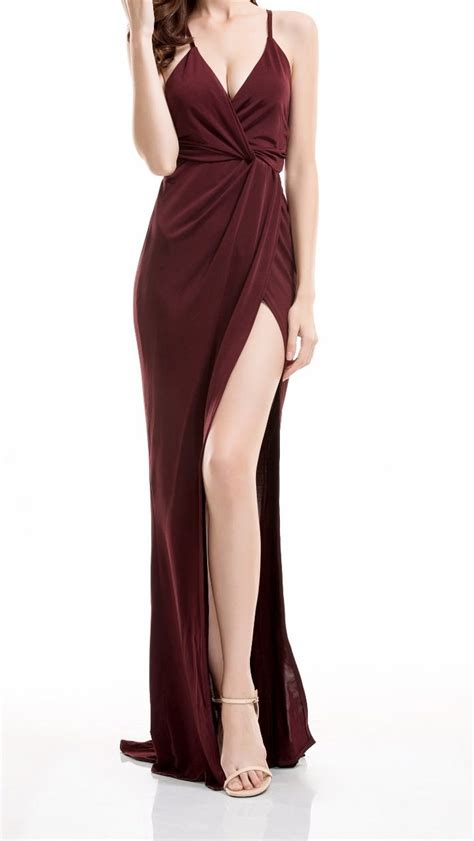 Maxi Shiren Set Maroon 3in1 burgundy maxi slit wrap drape fishtail dress on storenvy