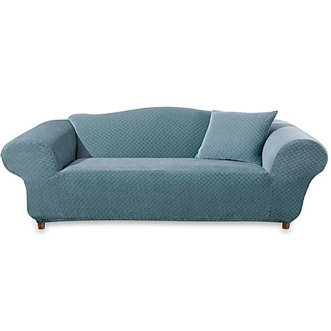 one piece sofa slipcover sure fit 174 stretch stone teal one piece sofa slipcover
