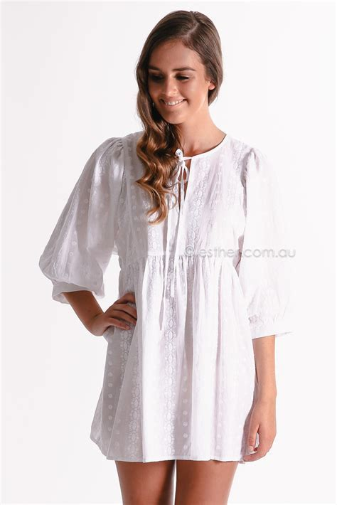 peggy tunic   white   Esther clothing Australia and