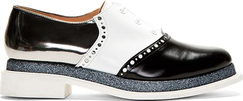 robert clergerie ssense black white flash saddle shoes
