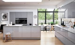 Light Gray Kitchens Umbria Gloss Adornas Kitchens Fitted Kitchens In Bangor