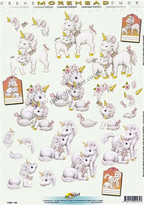 Morehead Unicorn Mother & Baby 3D Decoupage Craft Sheet
