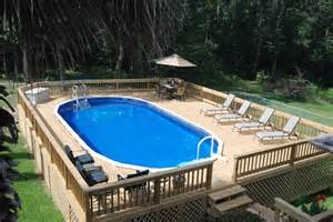 Backyard Above Ground Pool Backyard Above Ground Pools With Oval Shaped Also Wooden Deck Features And Wood Fence Design