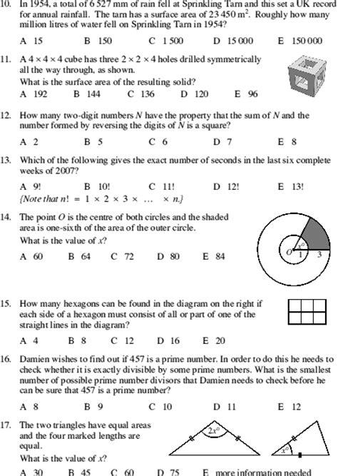 ukmt senior maths challenge ukmt senior mathematical challenge 2007