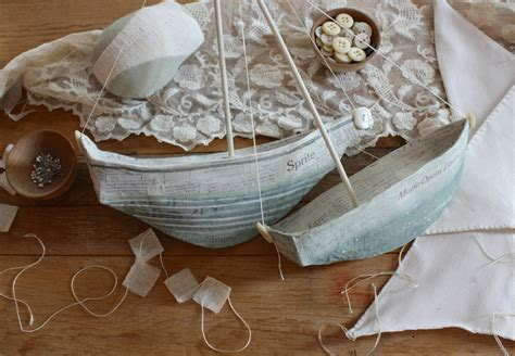 How To Make A Paper Mache Boat - on my work table wood handmade