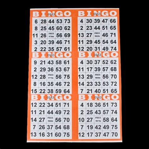 6 x 6 bingo card template 6 on pushout bingo paper cards orange