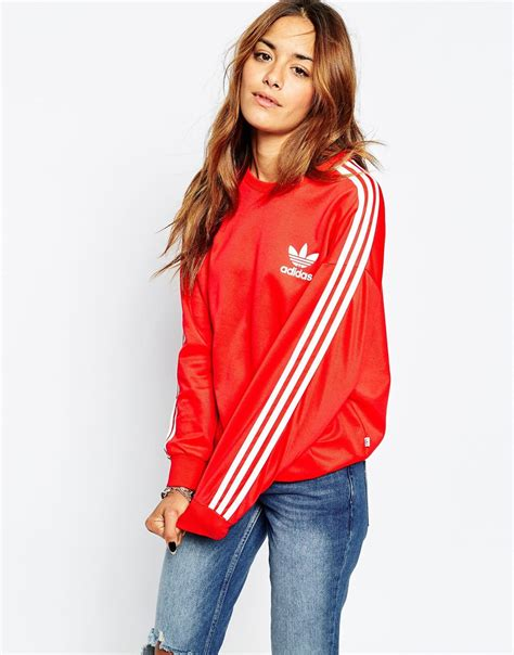 Sweater Adidas 3 Colors adidas originals 3 stripe crew neck sweatshirt in lyst