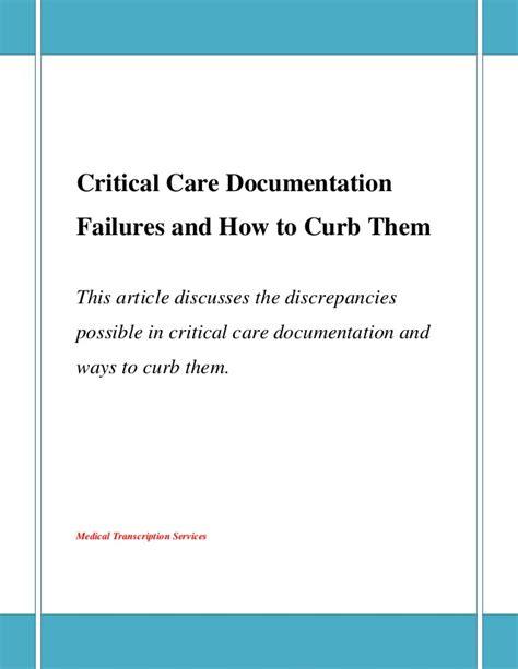 Critical Care Documentation Failures And How To Curb Them Critical Care Documentation Template