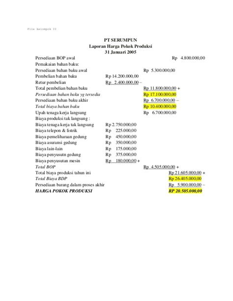 skripsi akuntansi harga pokok produksi jawaban harga pokok produksi dan laporan laba rugi