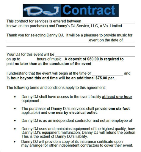 dj service contract template dj contract 12 documents in pdf