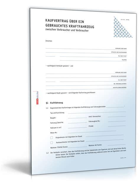 Autoverkauf Versicherung by Allgemeiner Kfz Kaufvertrag F 252 R Privatverkauf