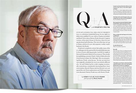 magazine layout q a boston magazine barney frank q a colin jaworski art