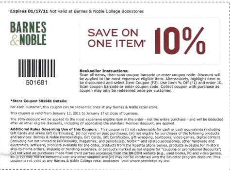Barnes And Noble In Store Coupon Printable barnes noble coupon code october 2015