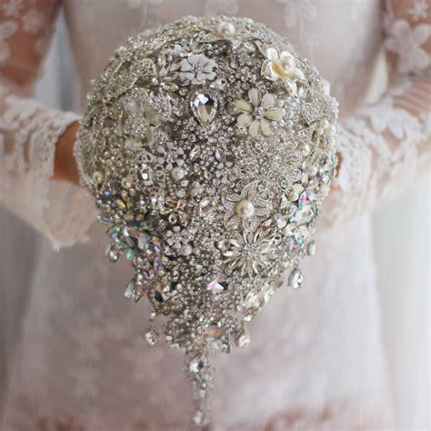 Handmade Bouquets - handmade silver brooch bouquet high end custom wedding