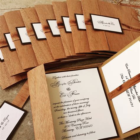 Wedding Invitations With Woods Themes by Rustic Wooden Wedding Invitation Real Wood Woodland