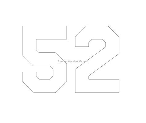 printable jersey numbers free jersey printable 52 number stencil
